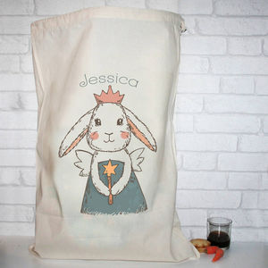 Personalised Cotton Christmas Rabbit Sack - stockings & sacks