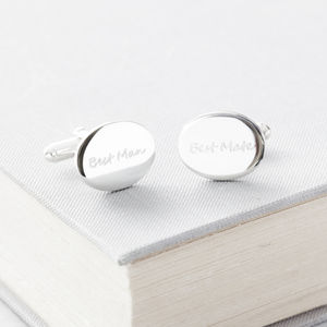 Personalised Oval Engraved Cufflinks - best man & usher gifts