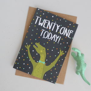 21st Birthday Dinosaur Card