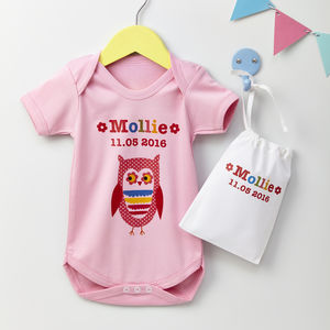 Girls Personalised Baby Grow Various Designs