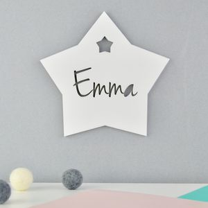 Personalised Monochrome Bedroom Door Sign Star Acrylic