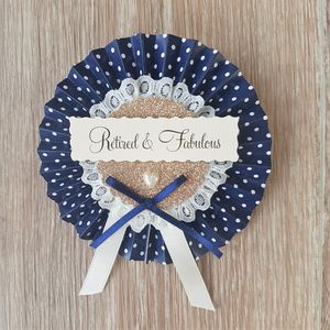 Personalised Navy And Gold Retirement Rosette