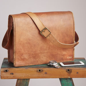 Personalised Large Brown Leather Messenger Bag - accessories