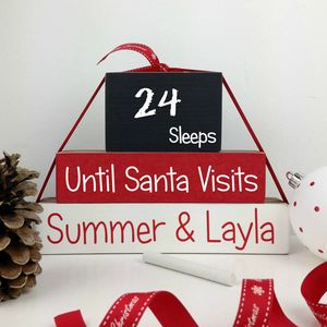 Personalised Handmade Sleeps 'Till Santa Blocks - advent calendars