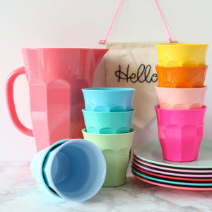 Solid Colour Bright Melamine Cup Or Jug - memorable picnic ideas
