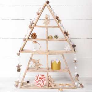 Wooden Display Shelf Christmas Tree - christmas trees