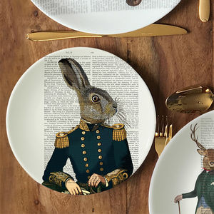Military Hare Bone China Plate - tableware