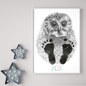 Personalised Baby Owl Footprint Kit - children's room