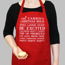 Personalised Family Christmas House Rules Apron