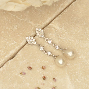 Abstract Star And Drop Pearl Earrings - earrings