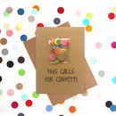 'Calls For Confetti' Wedding Card