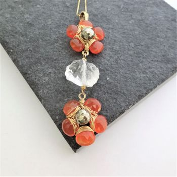 Quartz Pyrite Carnelian Necklace