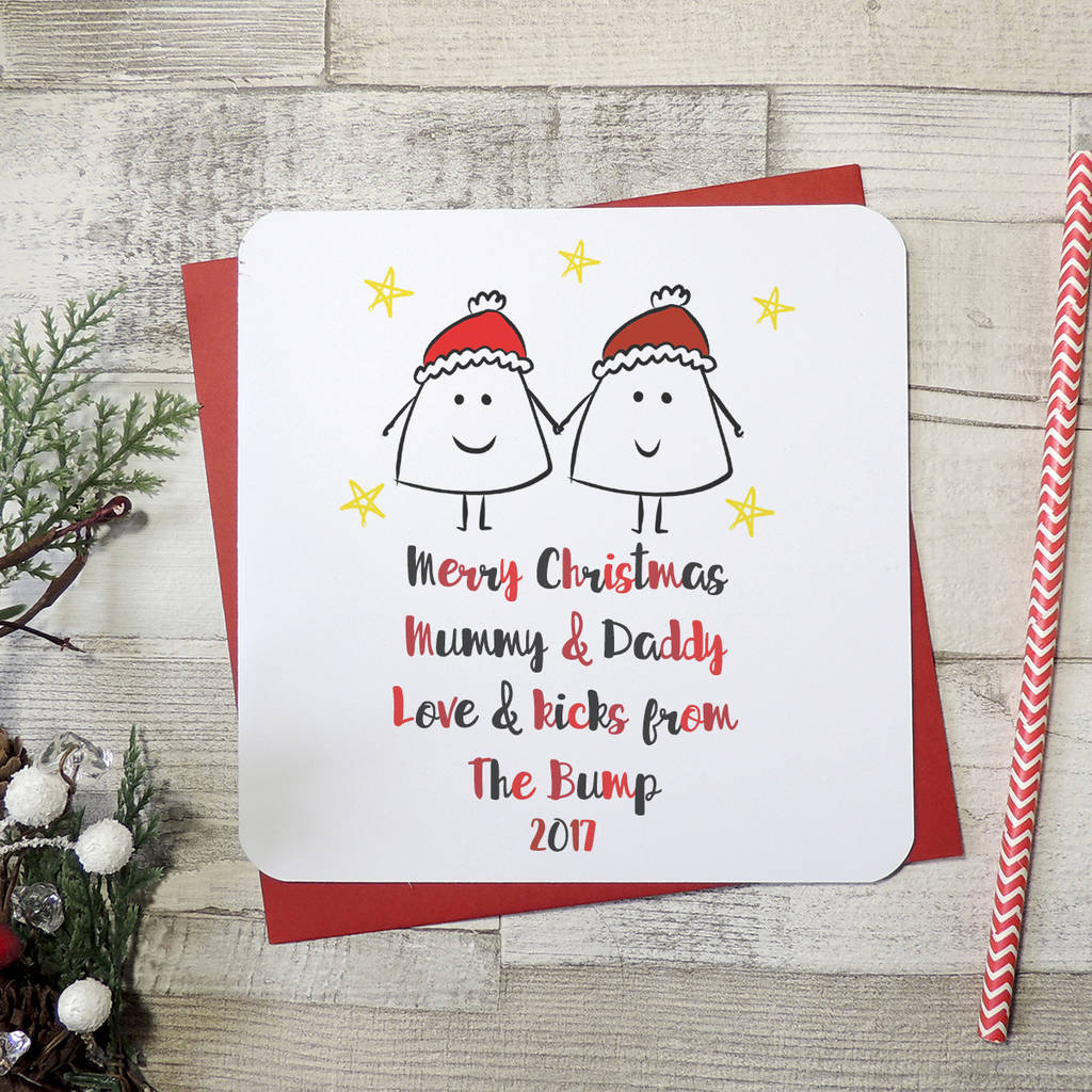 Mummy And Daddy From The Bump Christmas Card By Parsy Card