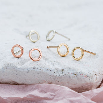 9ct Gold Fine Geometric Circle earrings in 9ct white gold, 9ct rose gold and 9ct yellow gold