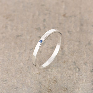 Sapphire Silver Stacking Ring September Birthstone - rings