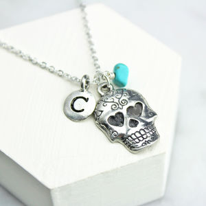 Personalised Sugar Skull Necklace - personalised jewellery