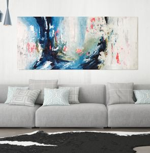 A Large Vibrant Original Abstract Painting On Canvas