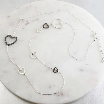 Long Heart Statement Necklace