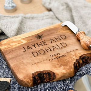 Personalised Live Edge Cheese/Chopping Board - gifts for couples