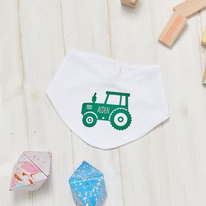Personalised Tractor Baby Bib