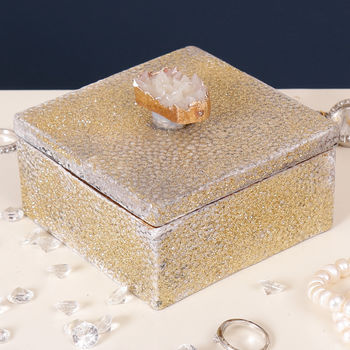 Gold Faux Shagreen And Agate Decorative Trinket Box