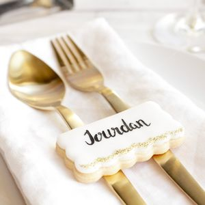 Personalised Wedding Place Cards Biscuits Set Of 10 - edible favours