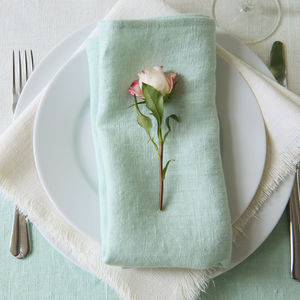 Linen Mint Napkin Terra - summer home