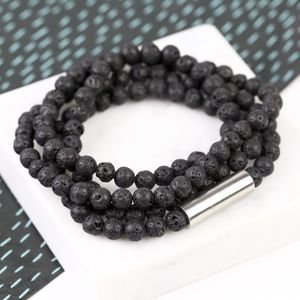 Men's Volcanic Stone Beaded Wrap Bracelet