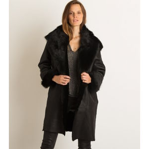Toscana Oversized Black Sheepskin Coat - black friday sale