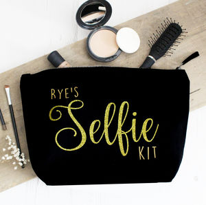 Large Personalised Glitter 'Selfie Kit' Make Up Bag - make-up & wash bags