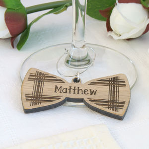 Personalised Wooden Tartan Bow Tie Wine Glass Charm - glass charms & decanter labels