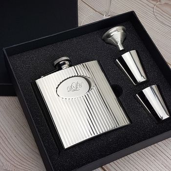 Personalised Ribbed Hip Flask Set
