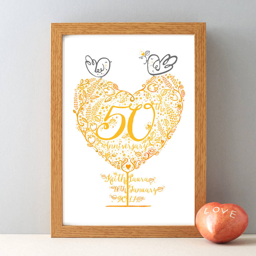 50th golden wedding anniversary gift print by wetpaint. Black Bedroom Furniture Sets. Home Design Ideas