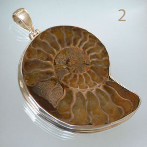 Madagascan Sterling Silver Ammonite Pendant Large