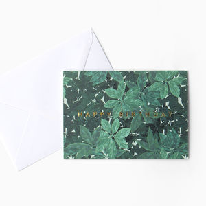 Green Leaf Foliage 'Happy Birthday' Card