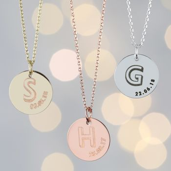 Personalised Initial And Date Disc Necklace
