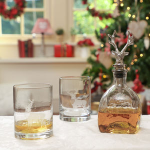 Gent's Stag Whisky Decanter And Tumbler Gift Set - decanters & carafes