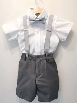 Ring Bearer Christening 4pc Grey Suit Brace Set