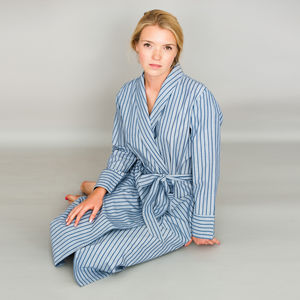Dressing Gowns In Cotton Blue Stripe Or Red Stripe - lingerie & nightwear