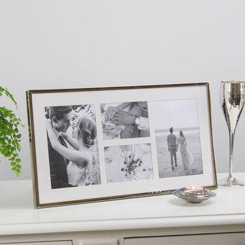 Four Aperture Long Silver Plated Fine Photo Frame