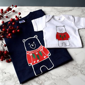 Father And Child Christmas Bear T Shirts