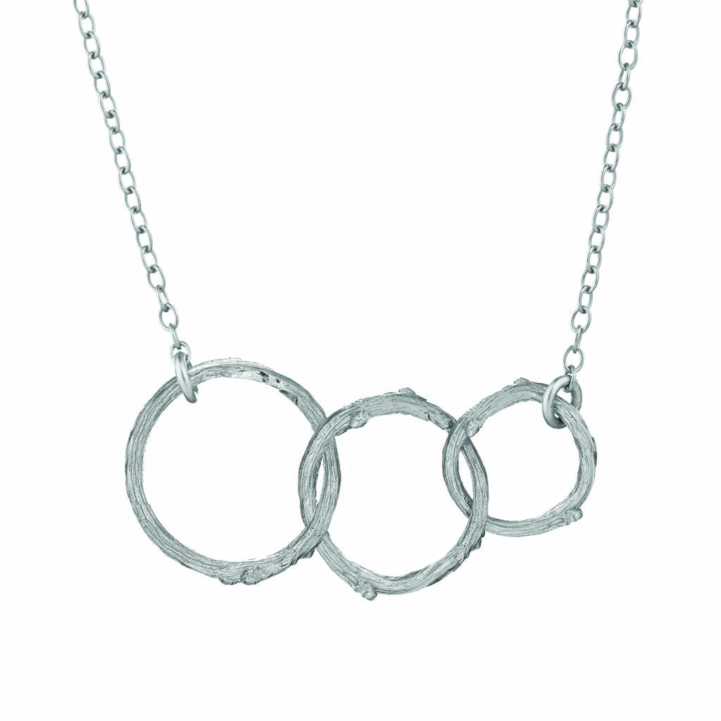 Hawthorn Twig Triple Circle Infinity Necklace Silver