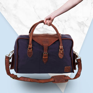 Personalised Galley Weekender In Navy Canvas - holdalls & weekend bags