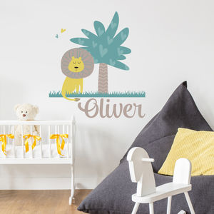Personalised Lion Jungle Wall Sticker - wall stickers