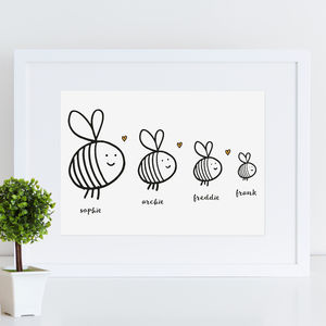 Personalised Bee Family Print - children's pictures & paintings