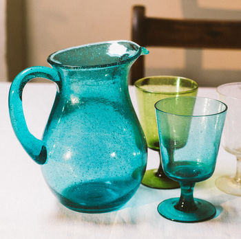Recycled Handmade Colourful Bubble Glass Jug