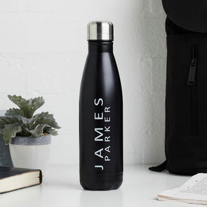 Black Aluminium Bottle Personalised - new in home