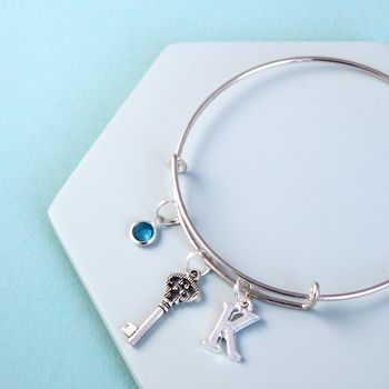 Personalised Key Silver Initial Birthstone Bangle