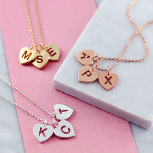 Pierced Heart Triple Initial Necklace - winter sale