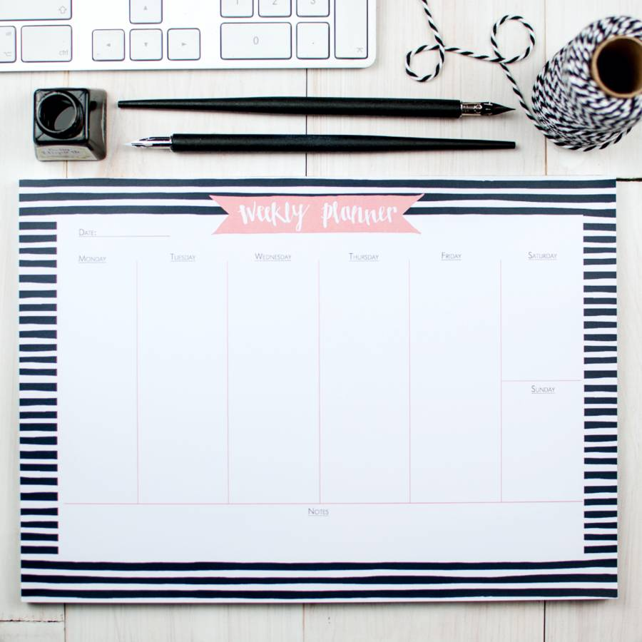 Bold Breton Weekly Planner Desk Pad By Betty Etiquette